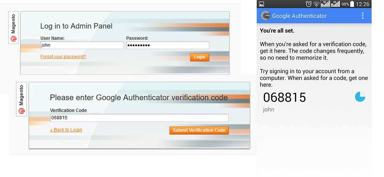protect magento with two step verification login